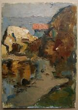 Russian Ukrainian Soviet Oil Painting impressionism seascape cliff brink