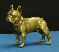 Chinese old Pure brass solid Sand leather dog small statue