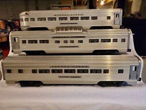Lionel Postwar 2500 series Passenger Cars Aluminum 3 Cars