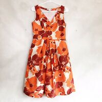 Banana Republic 100% Silk Fit and Flare Orange Red Floral Midi Dress Size 6