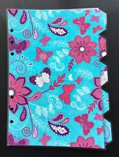 Filofax A5 Organiser Planner - Pink Flowers with Blue Dividers - Fully Laminated