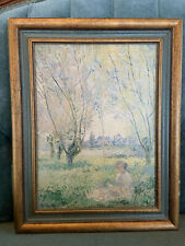 """CLAUDE MONET FRAMED PRINT VINTAGE """"WOMAN SEATED  UNDER THE WILLOWS """" Sz 11""""x14"""""""