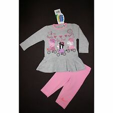 PEPPA PIG ensemble tunique t-shirt gris + legging rose 12 18 24 ou 30 mois NEUF
