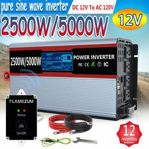 Power inverter Pure Sine Wave 2500W/5000W 12V to 120V Solar LCD Converter Remote