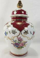 Vintage Czechoslovakia Fbs Porcelain Vase Ginger Jar Urn Burgundy Gold Flowers