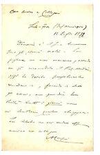 Autografo Tommaso Corsini Municipio di Sesto Fiorentino Richiamo Professore 1892