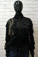 JUST CAVALLI 44 Giacca in Seta Giubbotto Donna Nero Jacket Woman Cappotto Corto