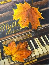 Watercolor Painting Piano Keys Music Fall Leaf Art 5x7 inches