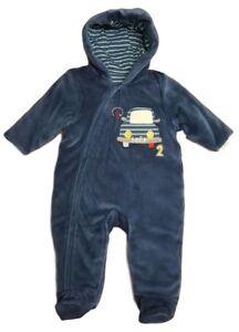 Baby Boys Pramsuit Snowsuit Winter Coat Warm Hooded Fully Lined Velour