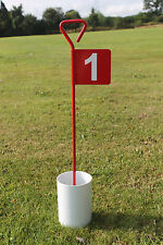 Numbered Red Metal Putting Flag with Practice Golf Putting Hole Cup