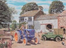 Land Rover Series I Fordson Tractor Farm Scene Blank Birthday Fathers Day Card