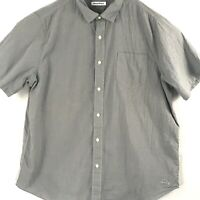 Tommy Bahama Men's XXL Gray Cotton Button Up with Logo Short Sleeve