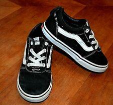 VANS black canvas slip-on classic suede skate shoes no-tie laces toddler 10