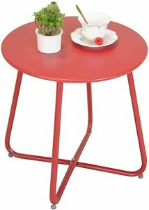 Garden Patio Round Table Lightweight Weather Resistant Metal Terrace Table Red