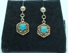 Vintage 9ct yellow gold Turquoise drop earrings.