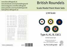 Scale Modelling Paint Mask Sets - British Roundel Multipack Type A, A1, B, C&C1
