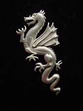 """JJ"" Jonette Jewelry Silver Pewter Flying DRAGON Facing Left Tac Pin w-Trademark"