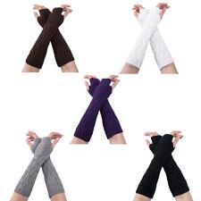 Women Warmer Mitten Winter Knitted Wrist Arm Hand Long Fingerless Crochet Gloves