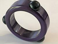 Bakelite Vtg Art Deco Bangle Bracelet Purple 3 Black Raised Dots Tested Exc