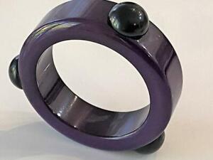 Bakelite Vtg Art Deco Bangle Bracelet Purple 3 Black Raised Dots Tested Exc