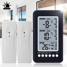 2 Sensor Wireless Digital Freezer Alarm Thermometer LCD screen Indoor Outdoor