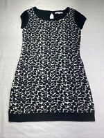 Made For Me To Look  Amazing Knit Dress Size Large L Black White animal print
