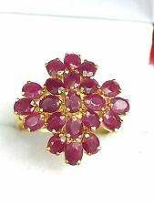 14k Solid Yellow Gold Cluster Flower Ring Natural Oval Ruby 4TCW, Sz 7.5