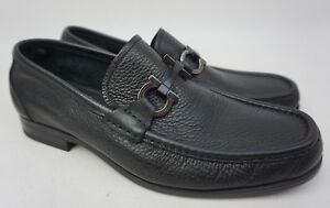 Salvatore Ferragamo Grandioso Bit Men's Black Leather Loafers Size 6.5 2E EE