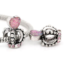 1PC European Charm Beads Enamel Pink Heart With Rhinestone Crown For Bracelets