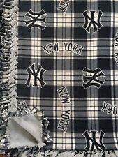 "MLB NY YANKEES Handmade Plaid Fleece Tie BLANKET | New York | LARGE 55""x65"""