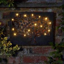 LED Tree Metal Indoor / Outdoor Metal Wall Art Light Timer Multi Function