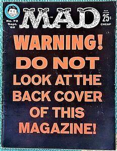 MAD Magazine #73 Sept 1962! FINE! 6.0! $0.99 Start! A SHARP, SOLID & TIGHT Copy!