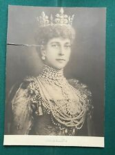 Large Antique Edwardian Photo Signed by Queen Alexandra Wearing a Crown & Jewels