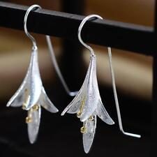 Women Silver Orchid Lotus Magnolia Flower Pendant Dangle Drop Earrings ca#21