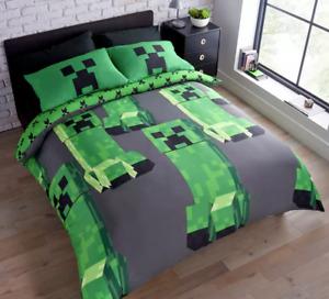 OFFICIAL Minecraft Creeper Kids Double Reversible Duvet Cover Set Boys Bedding