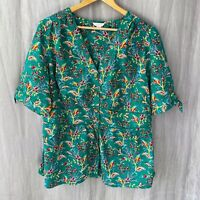 MONSOON Green Multi Floral PLUS SIZE 22 UK Short Sleeve Blouse