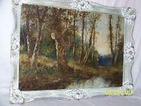 Antique 19tC American Pennsylvania Impressionist Original Oil/Canvas Landscape