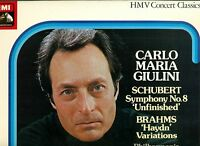 "SCHUBERT SYMPHONY NO. 8 UNFINISHED BRAHMS CARLO MARIA GIULINI 12"" LP (L5440)"
