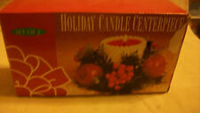 Set Of 2 Holiday Candle Centerpieces, Holly And Apples, Bnib