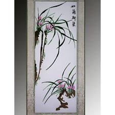 """Chinesische Blumen """"Orchidee"""", Stickbild, Stoffbild, Stickerei, Stickkunst"""