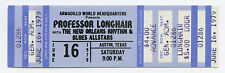 PROFESSOR LONGHAIR Rare 1979 ARMADILLO TX Complete Unused Concert Ticket