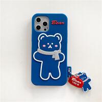 Cute Cartoon Bear Silicone Phone Case Unbreak Cover for iPhone 12 Pro Max 11 X 7