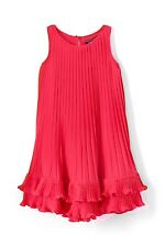 Lands' End Little Girl 5 Trapeze Pleated Ruffle CORAL Party Fancy Tank Dress Top