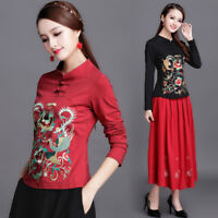 Womens Chinese Embroidery Cotton Long Sleeve Slim T-shirt Folk Floral Top Blouse