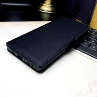GALAXY NOTE 10  Genuine Low Profile Real Leather Black Folio Book Case Wallet.