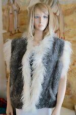 Unisex Vtg 60s Hippy Boho Sony Cher Vest Lamb Fur White Tibetan Curly Lamb Trim