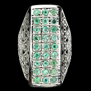 Unheated Round Emerald 2mm 14K White Gold Plate 925 Sterling Silver Ring Size 8