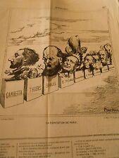 Litho Caricature 1869 - Députation de Paris Gambetta Thiers Garnier Bangel etc