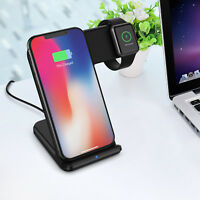 2in1 10W Qi Wireless Fast Charger Holder Stand For Apple Watch iPhone8 X Samsung