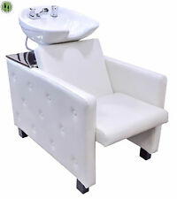 Shampoo Backwash Unit White CERAMIC BOWL Tilt Salon Barber Spa Chair